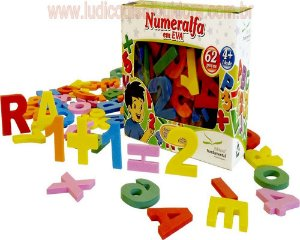 Numeralfa em EVA 62 peças - Cx. Cartonada