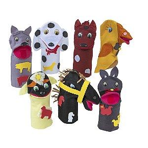 Fantoches animais domesticos - Feltro - 7 pers. - Emb. plast