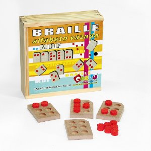 Braille Alfabeto vazado - MDF - 15 pc - Cx. mad.