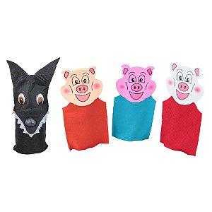 Fantoches 3 porquinhos - Feltro - 4 pers. - Emb. plast.