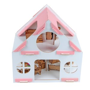 Casinha rosa - MDF - 39 pc - Cx. papel