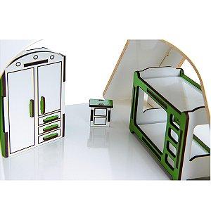 Casinha branca com moveis coloridos -MDF-13 pc - Cx. papelao