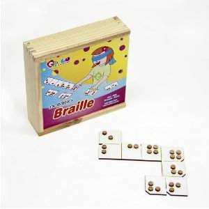 Braille domino - MDF - 28 pc - Cx. mad.