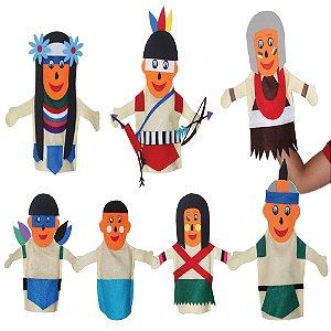 Fantoches familia indigena - Feltro - 7 pers. - Emb. plast.
