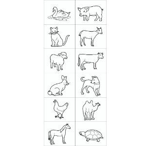 Carimbo animais domesticos - Mad. - 12 pc - Cx. papel