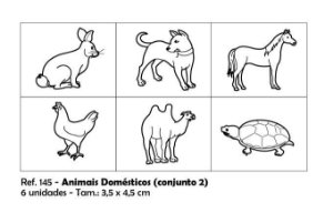 Carimbos Pedagógicos Animais Domésticos 3 5x4 5cm Conjunto 2