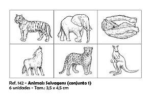 Carimbos Pedagógicos Animais Selvagens 3 5x4 5cm Conjunto 1
