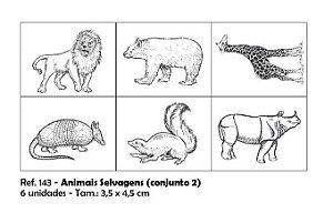 Carimbos Pedagógicos Animais Selvagens 3 5x4 5cm Conjunto 2