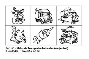 Carimbos Pedagógicos Meios De Transporte Animados 3 5x4 5cm Conjunto 1