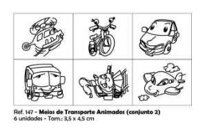Carimbos Pedagógicos Meios De Transporte Animados 3 5x4 5cm Conjunto 2