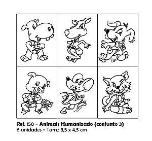 Carimbos Pedagógicos Animais Humanizados 3 5x4 5cm Conjunto 3
