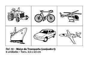 Carimbos Pedagógicos Meios De Transporte 3 5x4 5cm Conjunto 1