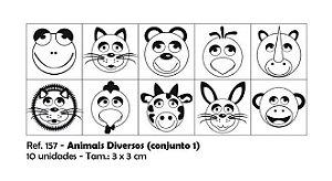 Carimbos Pedagógicos Animais Diversos 3 0x3 0cm Conjunto 1