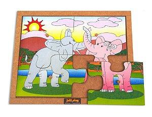 Quebra Cabeça Com Pinos Modelo Elefantes Com 4 Peças