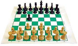 Xadrez Profissional com tabuleiro 45x50cm com 32 figuras de 10cm , mochila