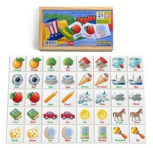 Brinquedo Educativo Jogo De Memória Português/Inglês 40 Peças - JOTTPLAY