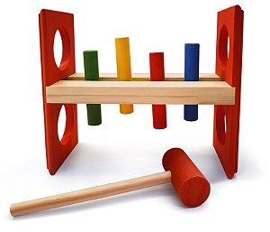 Brinquedo Educativo Bate Pinos Grande Com Martelo E Pinos