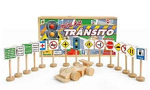 Mini Kit De Transito Com 14 Placas 1 Sem Aforo E 1 Carrinho De Madeira