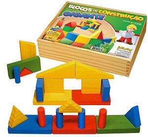 Brinquedo Educativo Blocos De Construçao Gigantes 61 Peças De Madeira - JOTTPLAY