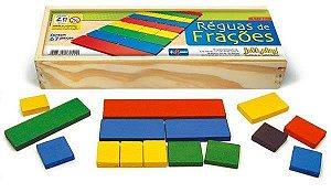 Réguas de Frações 67 peças cx de madeira