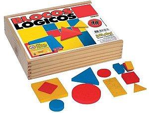 Brinquedo Educativo Blocos Lógicos 48 Peças Em Madeira Base 7 Cm Madeira - JOTTPLAY