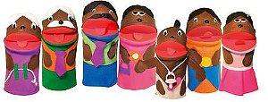 Fantoches Família Negra Com 7 Personagens Em Feltro