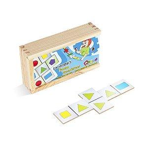 Brinquedo Educativo Dominó Formas Geométricas Em Mdf Com 28 Peças - CARLU