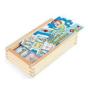 Domino numerais e quantidades em MDF com 28 pecas - Cx. madeira.