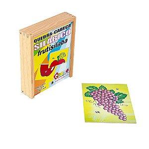 Quebra Cabeça Silabico Frutisilaba Em Mdf 18 Peças