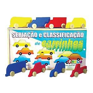 Brinquedo Educativo Seriacao E Classificacao De Carrinhos Em Mdf 18 Peças - CARLU