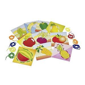 Alinhavos frutas e legumes em MDF com 10 pecas e 10 cad. - Cx. mad