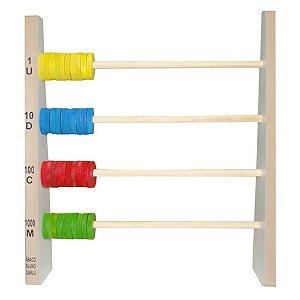 Brinquedo Educativo Abaco Aluno 40 Argolas De Mdf - CARLU