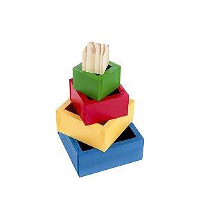 Cubos de Encaixe Caixas Coloridas  MDF 5 Peças