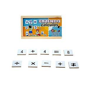 Brinquedo Educativo Fazendo Calculos Em Mdf Com 42 Peças - CARLU