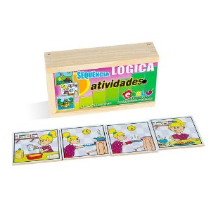Brinquedo Educativo Sequençia Lógica Atividades Em Mdf Com 16 Peças - CARLU