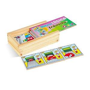 Brinquedo Educativo Sequençia Lógica Trânsito Em Mdf Com 16 Peças - CARLU