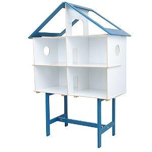 Casinha Azul Em Mdf Com 40 Peças
