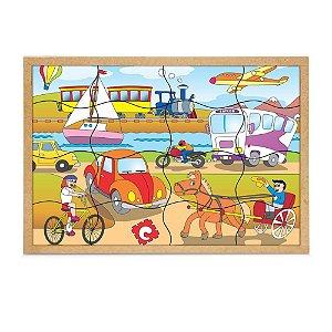 Brinquedo Educativo Quebra Cabeça Meios De Transportes Base Mdf 16 Peças - CARLU