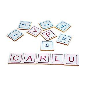Alfabeto vamos formar palavras em MDF - 60 pc - Cx. madeira.