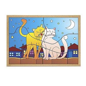 Quebra Cabeça Casal Gatos Base Mdf 6 Peças