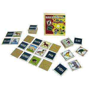 Brinquedo Educativo Memória Inglês MDF 40 Peças - CARLU