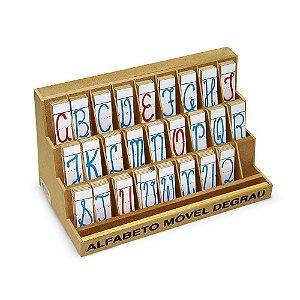 Jogo Educativo Alfabeto Móvel Degrau 130 Leras Cursivas MDF - CARLU