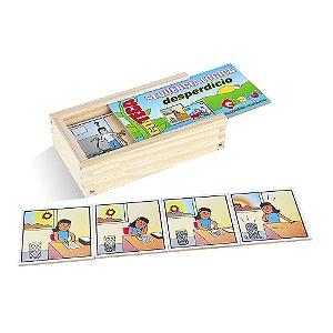 Brinquedo Educativo Sequençia Lógica Desperdicio Em Mdf Com 16 Peças - CARLU