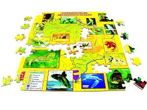 Brinquedo Educativo Quebra Cabeça Animais Em Extincao MDF 8 Jogos - CARLU