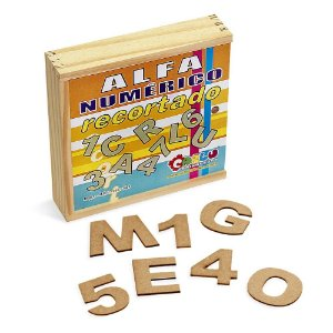 Alfanumérico Recortado Em Mdf Com 46 Peças