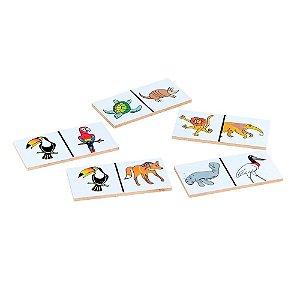 Brinquedo Educativo Dominó Animais Selvagens Da Fauna Brasileira 28 Peças - CARLU