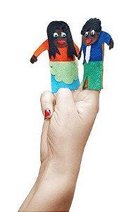 Brinquedo Educativo Dedoche Familia Negra Feltro 6 Personagens - CARLU