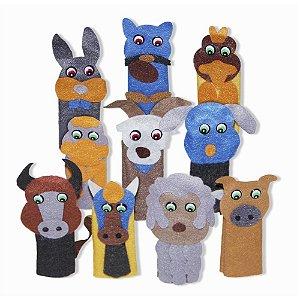 Brinquedo Educativo Dedoche Animais Domesticos Feltro 10 Personagens - CARLU