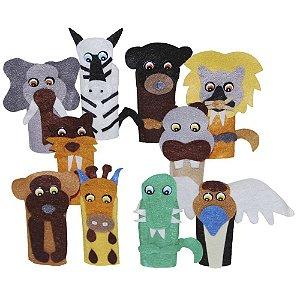Brinquedo Educativo Dedoche Animais Selvagens Feltro 10 Personagens - CARLU