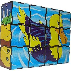 Brinquedo Educativo Quebra Cabeça Cubos Animais Vertebrados Mdf 12 Peças - CARLU